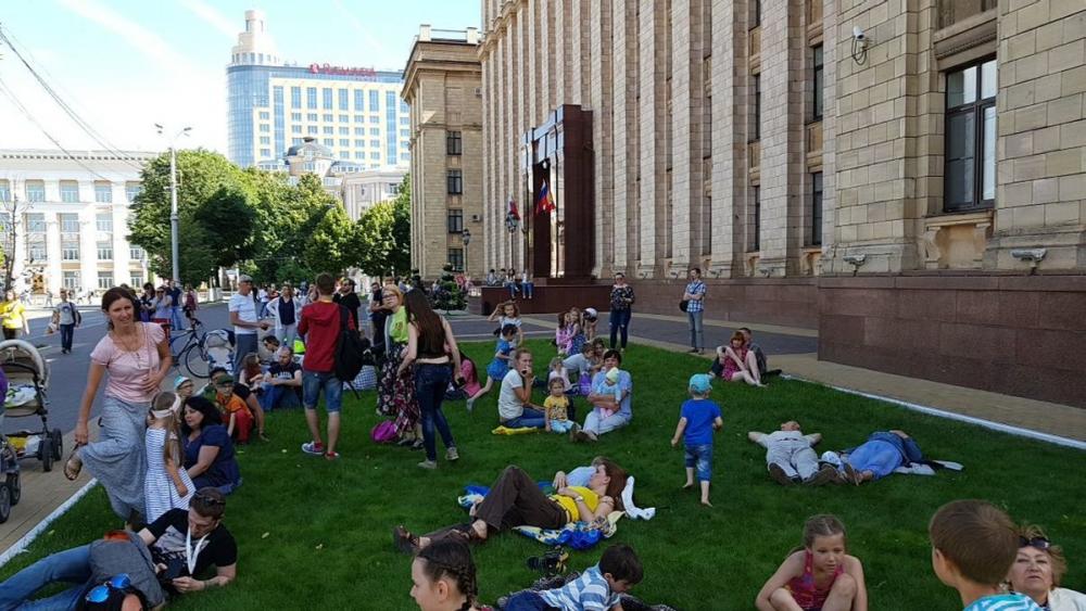 Воронежцы употребили по назначению газон у областного правительства