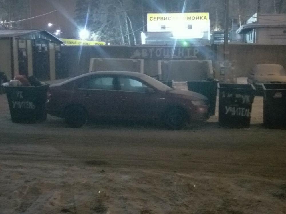 Воронежцы из учительских домов воспитывали автохама баками с мусором