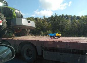 Оригинальную перевозку игрушечного самосвала заметили на воронежской трассе