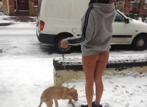 Девушка без штанов в мороз озадачила воронежцев