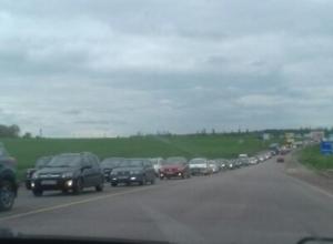 5-километровая пробка образовалась на выезде из Воронежа