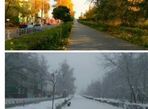 Воронежцам наглядно показали осенне-зимний контраст одной и той же улицы