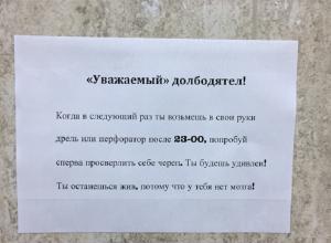 На стене дома в Воронеже появилось обращение к долбодятелу