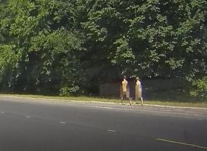 Два голых «терминатора» разгуливали вдоль дороги в Воронеже