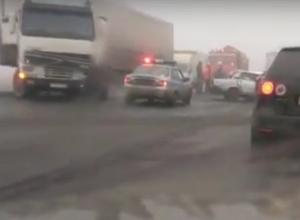 Последствия массового ДТП под Воронежем попали на видео