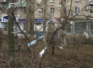 В воронежской Отрожке деревья ужасно нарядили «бутылочными игрушками»