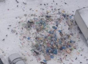 Последствия месячного невывоза мусора сняли в Воронеже