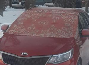 Колхозную автозащиту от мороза сфотографировали в Воронеже