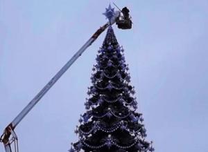 На площади Ленина в Воронеже начали устанавливать главную городскую елку