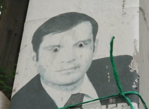 Плакат депутата с глазами безумца повесили на столб в Воронеже