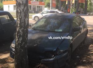 Жительница Воронежа запечатлела авто, спешащее припарковаться в дерево