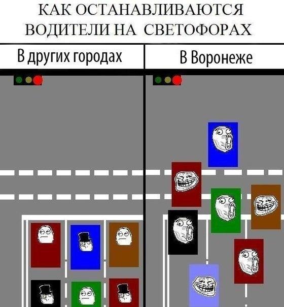 Горожанам показали, как останавливаются на светофорах в Воронеже и в других городах