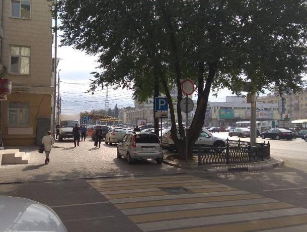 Узаконенная парковка на тротуаре у воронежской налоговой попала на фото