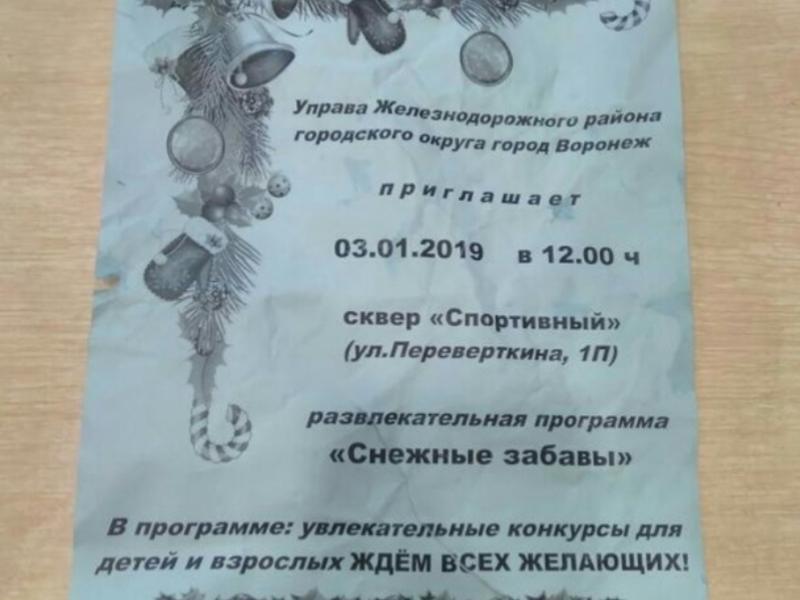 Детей лишили обещанного новогоднего праздника в Воронеже