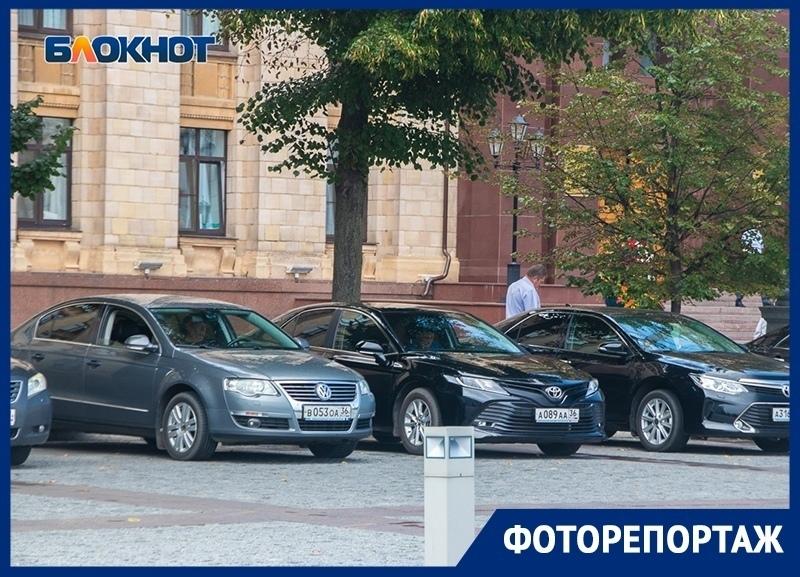 Какие автомобили паркуются у правительства и мэрии Воронежа