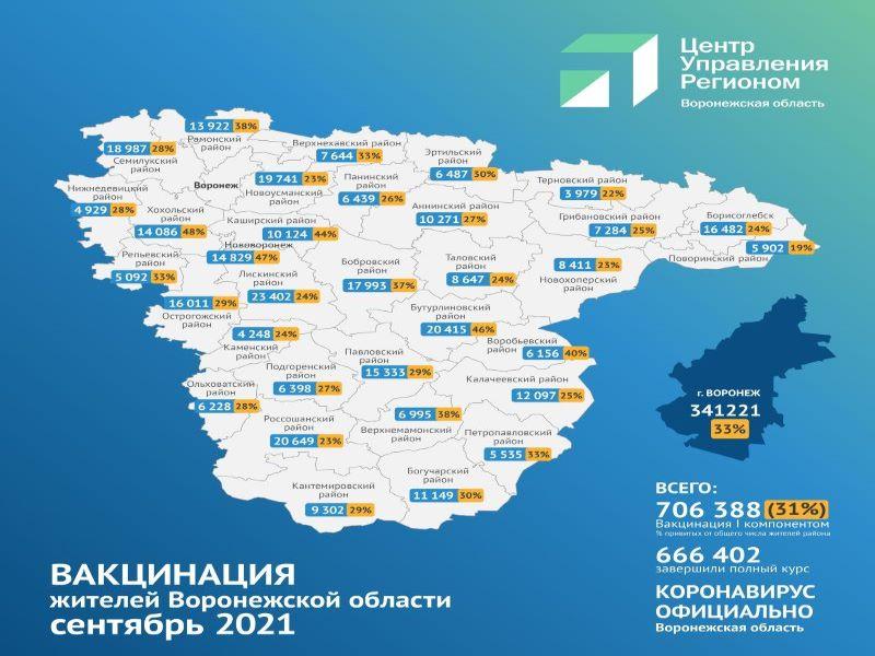 Опубликована очередная карта вакцинации в Воронежской области