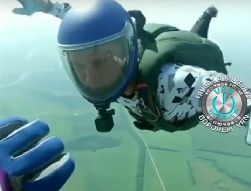 Головокружительный прыжок с парашютом над Воронежской областью сняли на видео