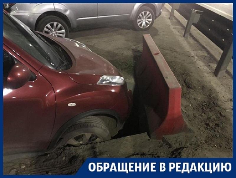 Воронежская автомобилистка провалилась в дорожную ловушку