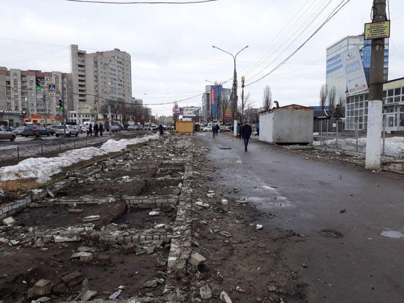 В Воронеже снесли мини-рынок на улице Димитрова