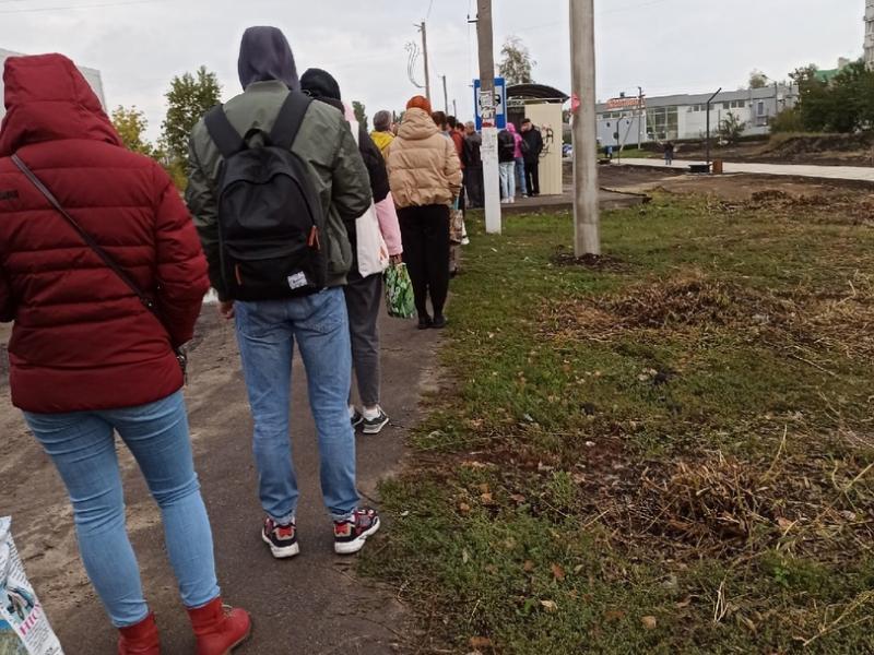«Приходится стоять по полчаса»: утреннюю очередь в маршрутку сняли жители воронежского микрорайона