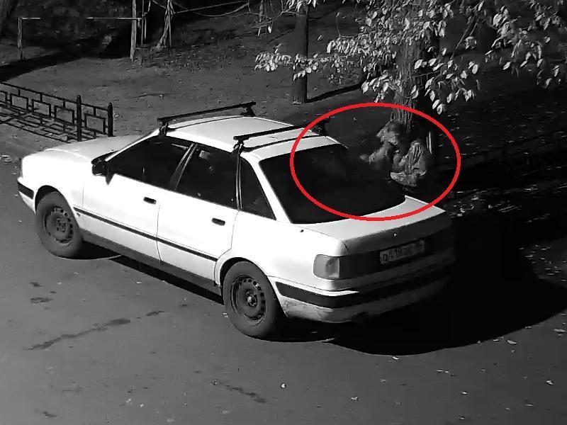 Камуфляжное нападение на иномарку сняла камера в воронежском дворе