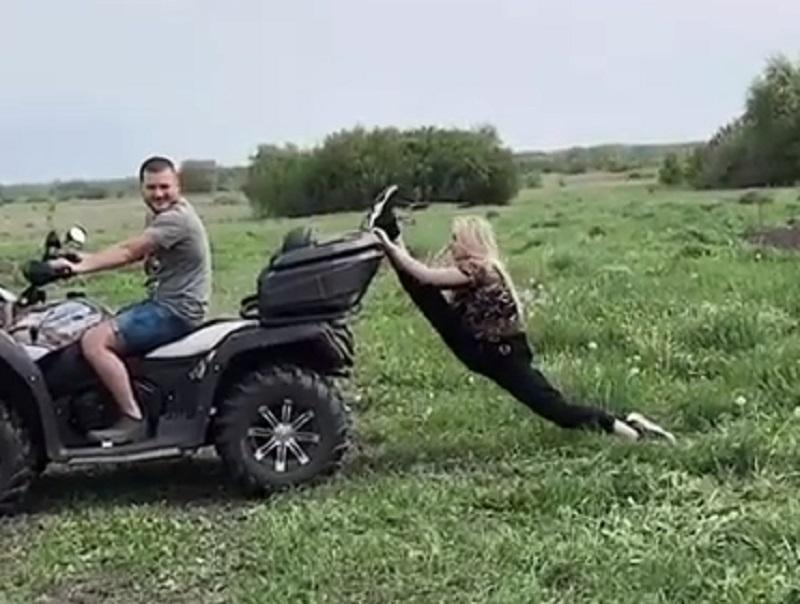 Опасный трюк беременной блогерши с квадроциклом сняли в Воронеже