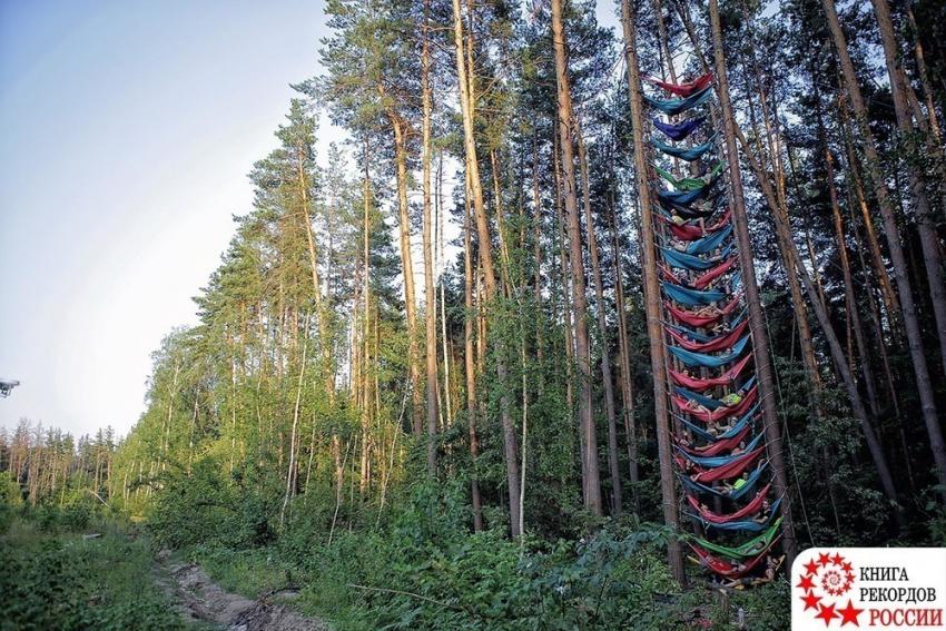 Группа воронежских экстремалов, устроивших «гамак-парк», угодила вКнигу рекордов РФ