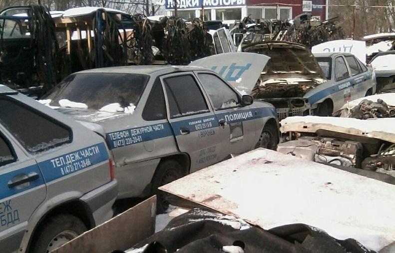 В Воронеже сфотографировали кладбище полицейских автомобилей