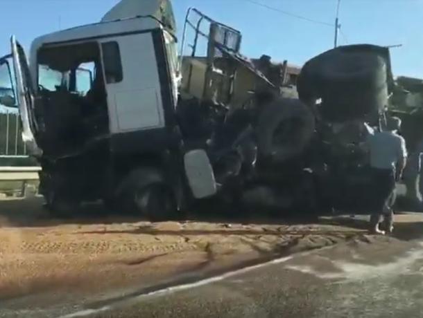 Жуткие последствия столкновения фуры и трактора на воронежской трассе сняли на видео